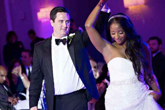 Isha Sesay and husband Leif Coorlim on wedding day.