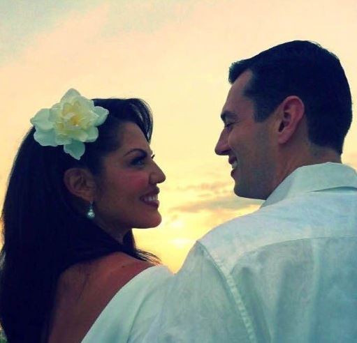 Ryan Debolt and Sara Ramirez on wedding day